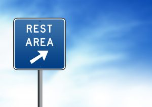 Rest stop sign to fight fatigue